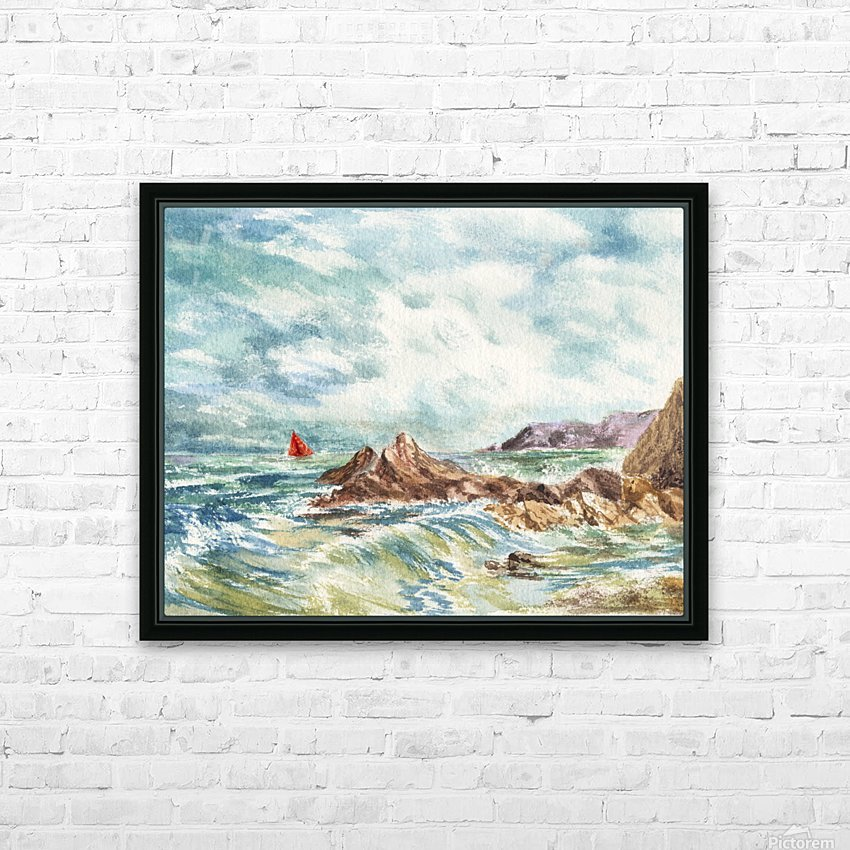 Red Sails At The Shore HD Sublimation Metal print with Decorating Float Frame (BOX)