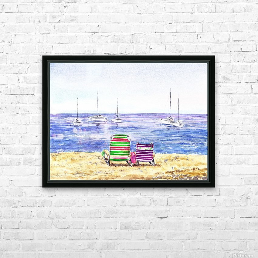 Two Chairs On The Beach HD Sublimation Metal print with Decorating Float Frame (BOX)