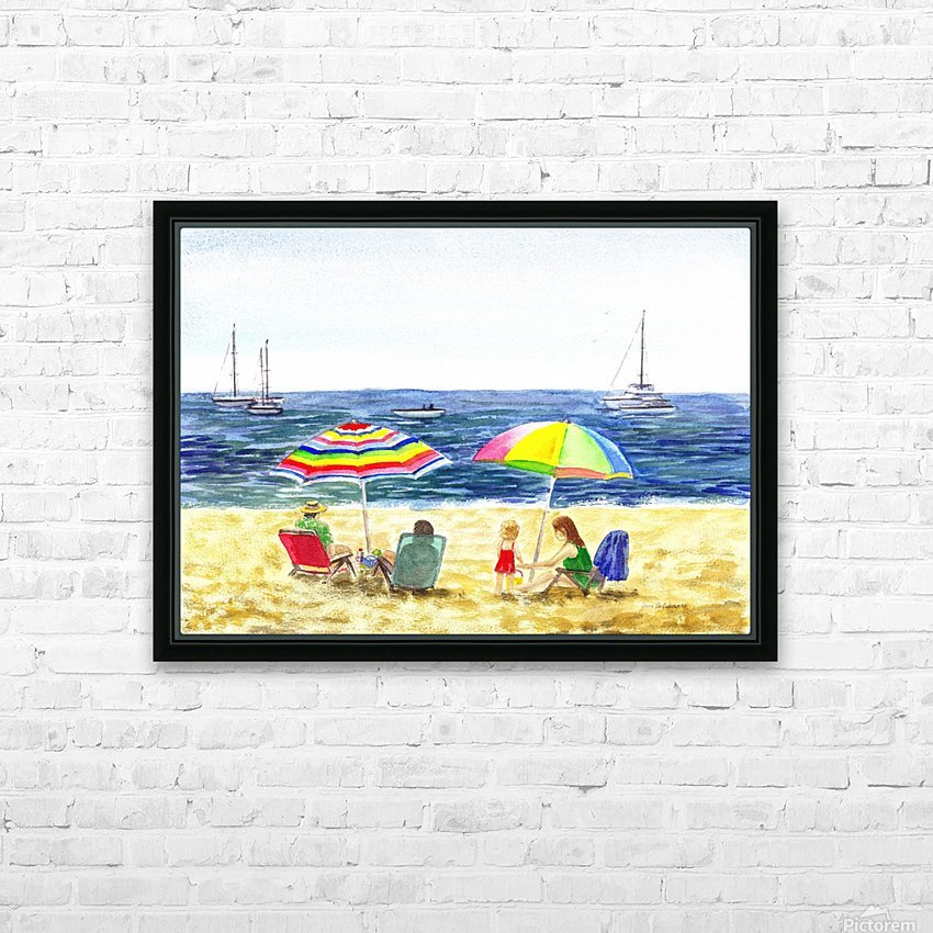 Two Umbrellas On The Beach HD Sublimation Metal print with Decorating Float Frame (BOX)