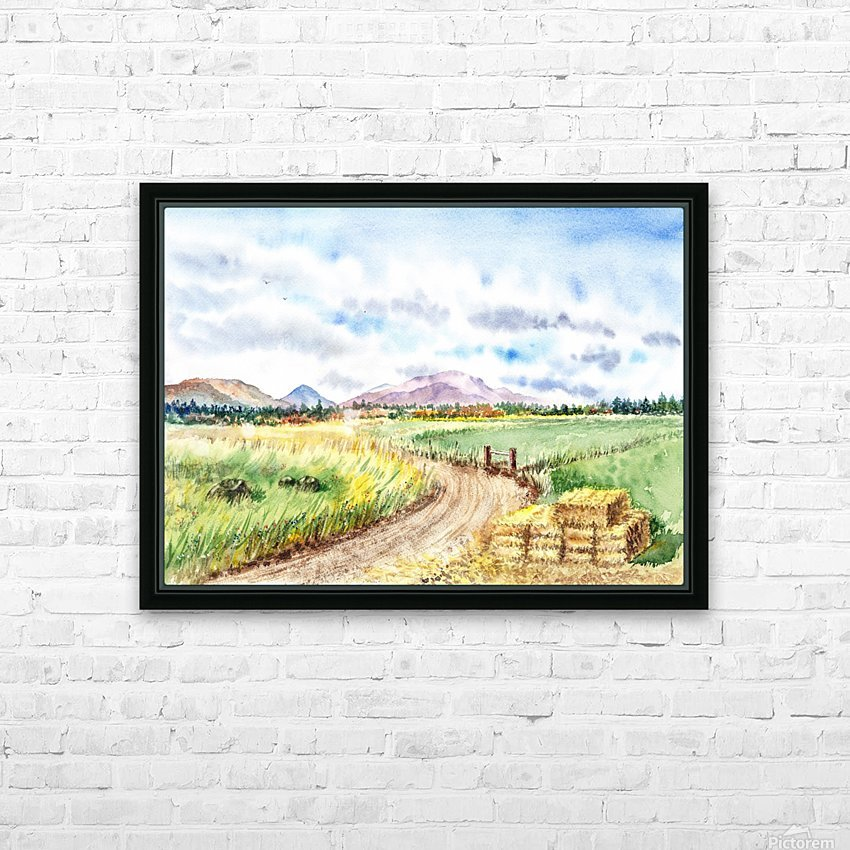 Farm Road The Mountains landsape HD Sublimation Metal print with Decorating Float Frame (BOX)