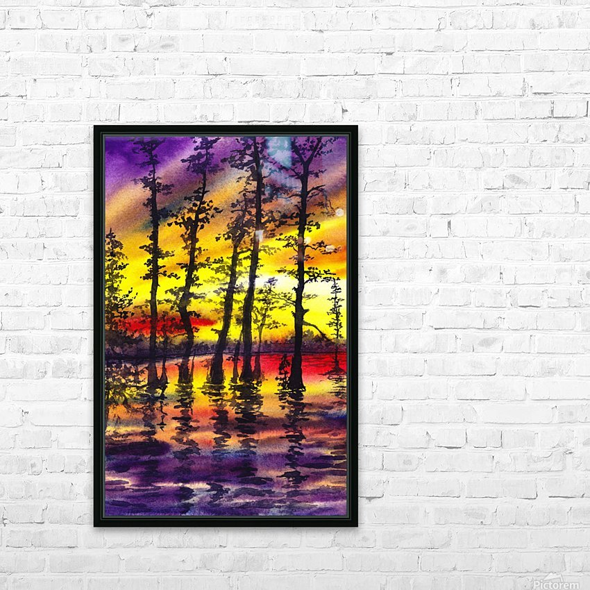 Bright Sunset Through The Trees HD Sublimation Metal print with Decorating Float Frame (BOX)
