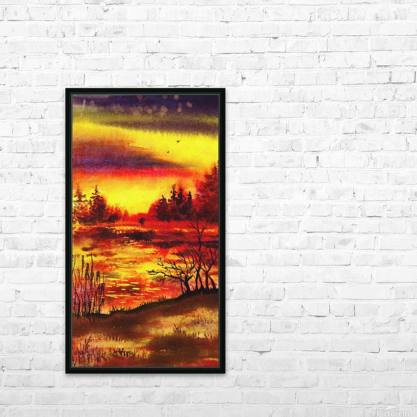 Bright Sunset At The Lake HD Sublimation Metal print with Decorating Float Frame (BOX)