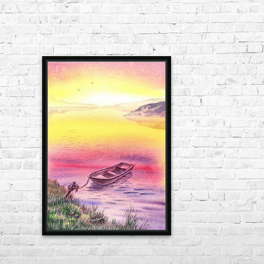 Sunrise At The Lake HD Sublimation Metal print with Decorating Float Frame (BOX)