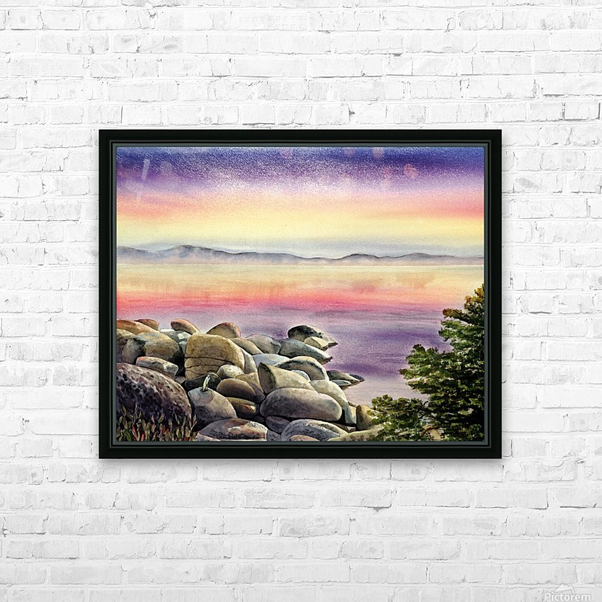 Purple Sunset At The Lake HD Sublimation Metal print with Decorating Float Frame (BOX)
