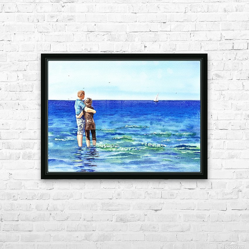 Couple And The Sea HD Sublimation Metal print with Decorating Float Frame (BOX)