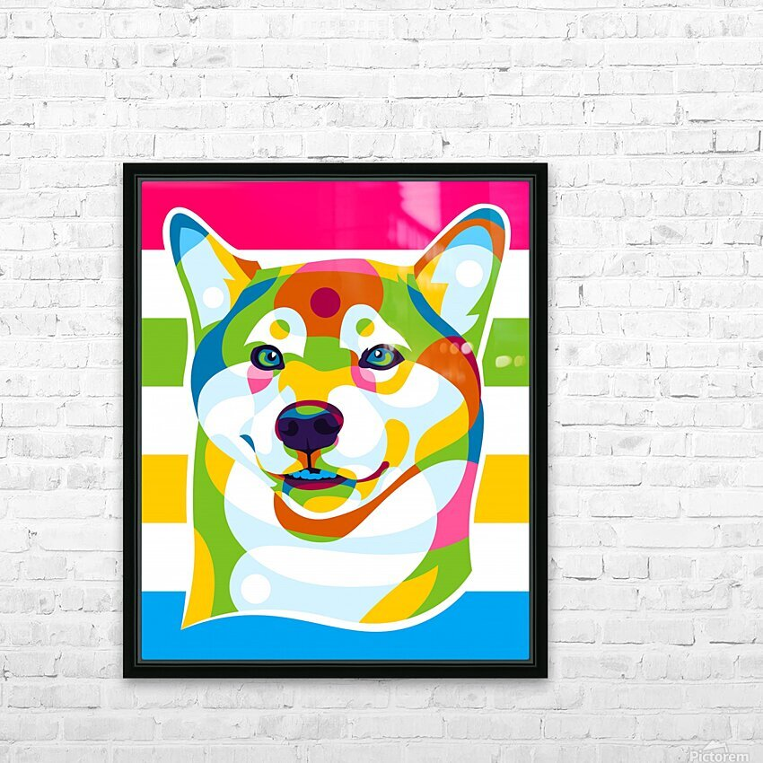 Shiba Inu Colorful Dog HD Sublimation Metal print with Decorating Float Frame (BOX)