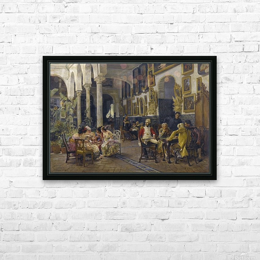 Conversation in a Sevillian courtyard HD Sublimation Metal print with Decorating Float Frame (BOX)