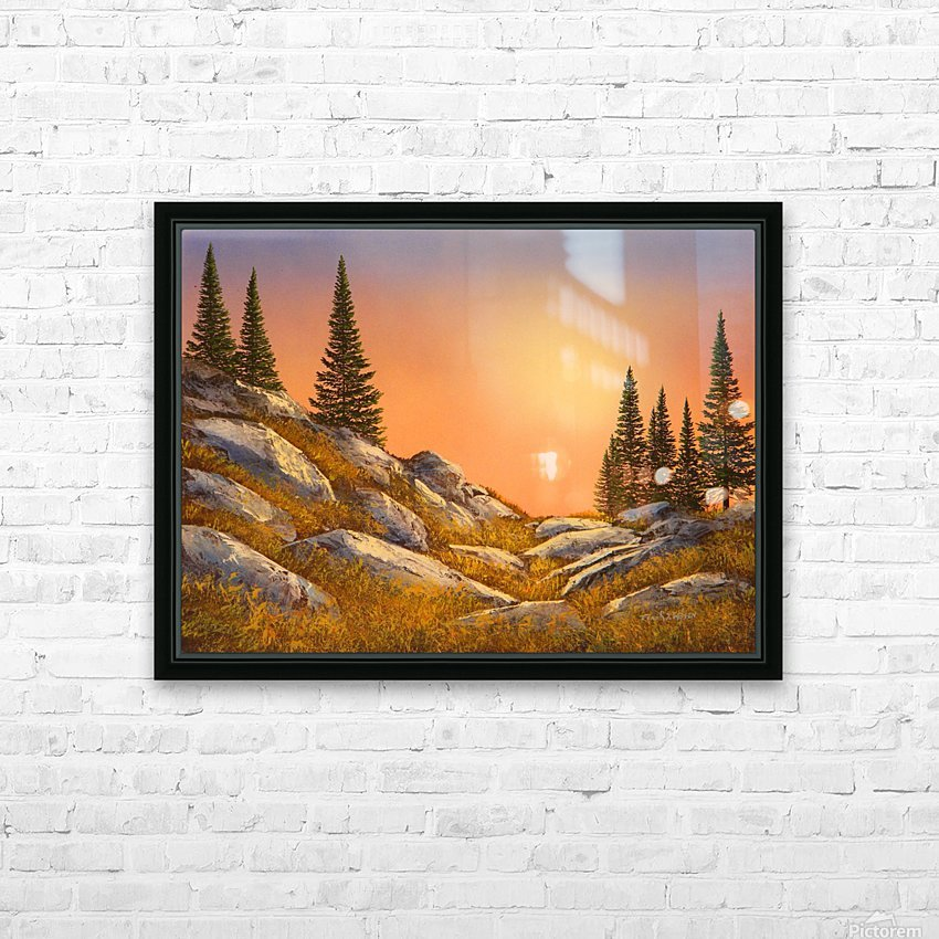 Sunset Spruces HD Sublimation Metal print with Decorating Float Frame (BOX)