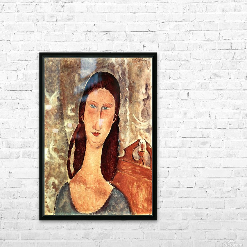 Modigliani - Portrait of Jeanne Hebuterne -2- HD Sublimation Metal print with Decorating Float Frame (BOX)