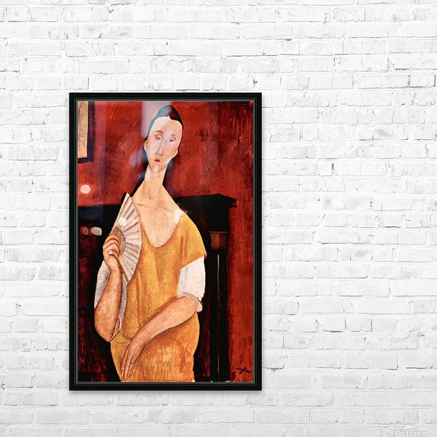 Modigliani - Portrait of Lunia Czechowska with fan HD Sublimation Metal print with Decorating Float Frame (BOX)