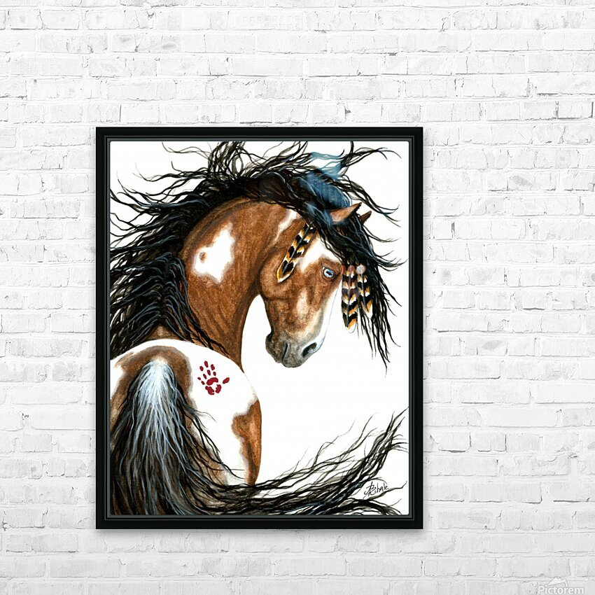 Majestic Pinto Horse HD Sublimation Metal print with Decorating Float Frame (BOX)