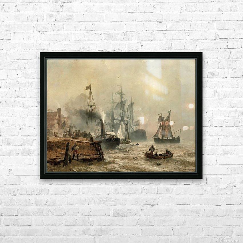 Boats in fog HD Sublimation Metal print with Decorating Float Frame (BOX)