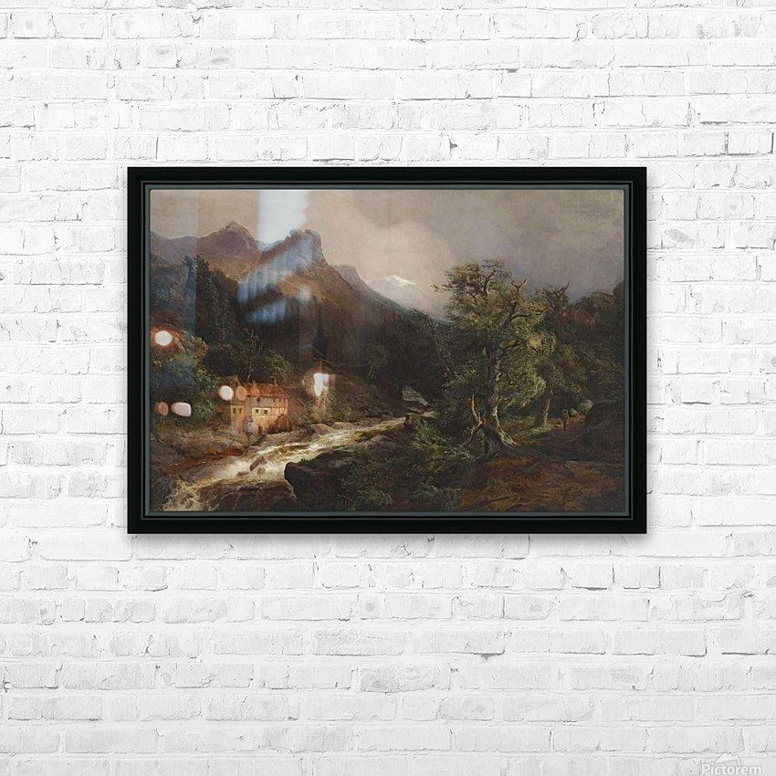 Gebirgslandschaft mit Muhle HD Sublimation Metal print with Decorating Float Frame (BOX)