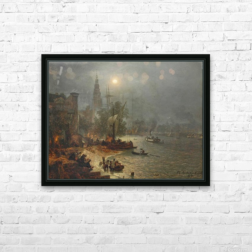 The harbor in the night HD Sublimation Metal print with Decorating Float Frame (BOX)