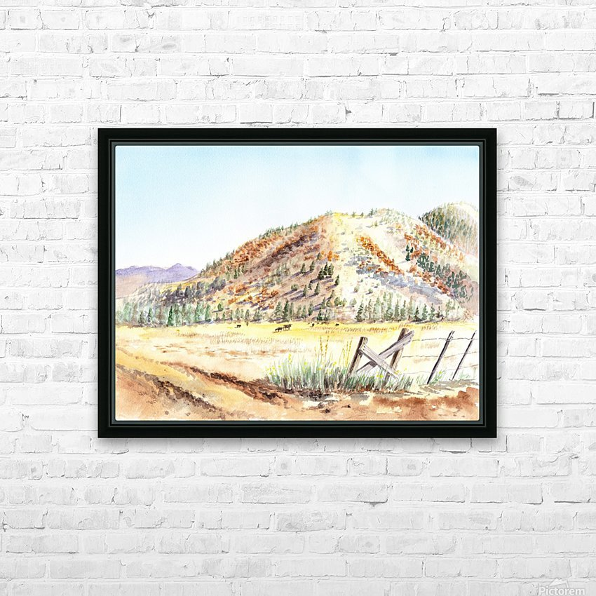 Landscape With Mountains Ranch And Cows HD Sublimation Metal print with Decorating Float Frame (BOX)