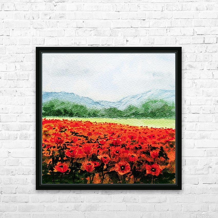 Red Poppies Field HD Sublimation Metal print with Decorating Float Frame (BOX)