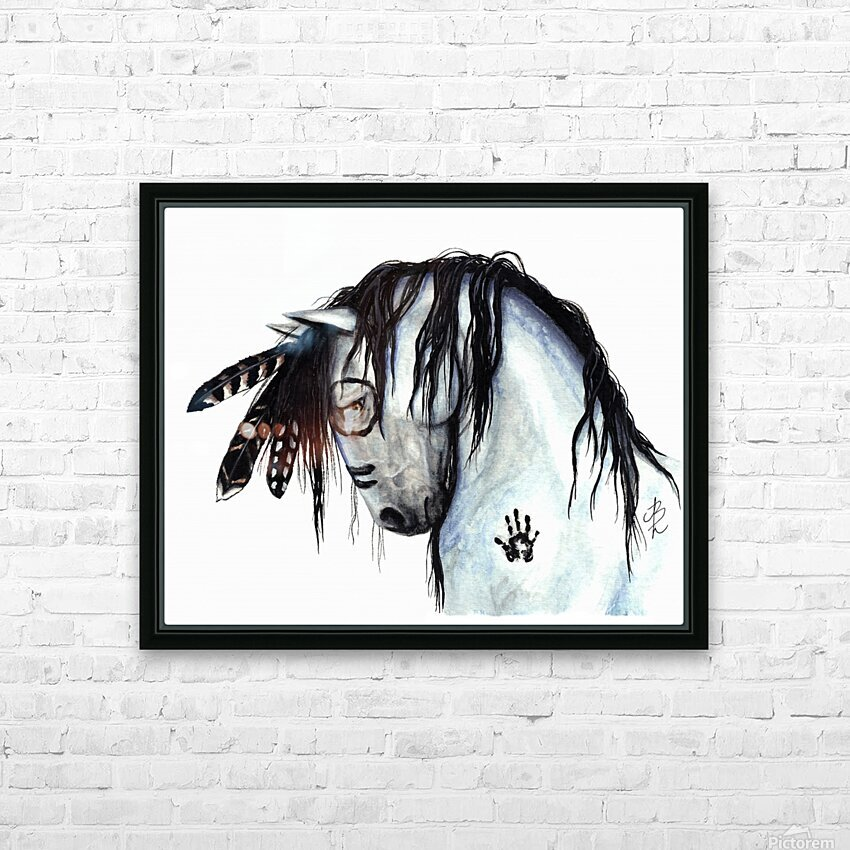 Grey Horse HD Sublimation Metal print with Decorating Float Frame (BOX)