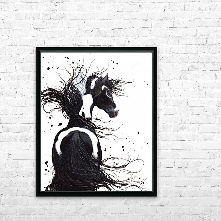Black and White Pinto Horse HD Sublimation Metal print with Decorating Float Frame (BOX)