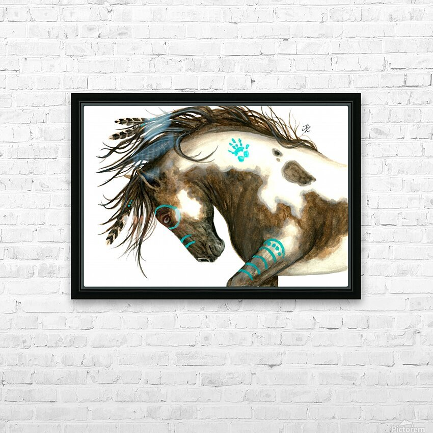 Pinto Horse Turquoise  HD Sublimation Metal print with Decorating Float Frame (BOX)