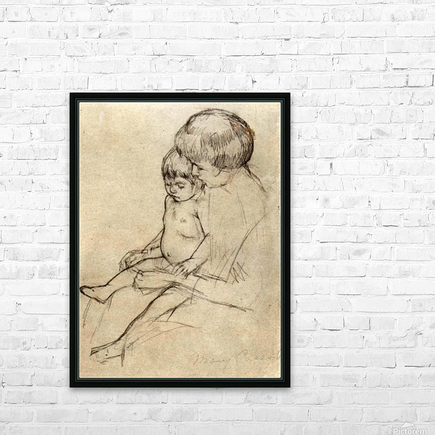 Mother and Child 2 by Cassatt HD Sublimation Metal print with Decorating Float Frame (BOX)