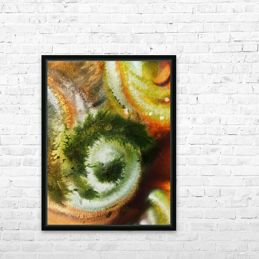 Fall Vortex Of Green Yellow Orange And Brown Abstract Watercolor  HD Sublimation Metal print with Decorating Float Frame (BOX)