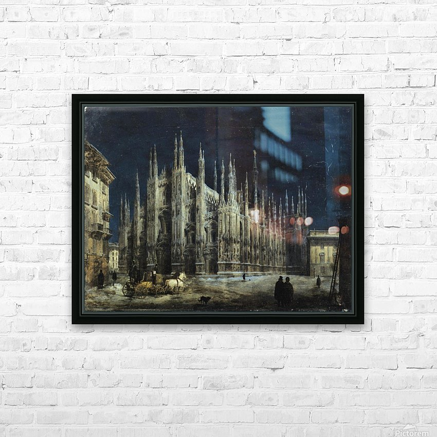 Notturno di Piazza del Duomo a Milano HD Sublimation Metal print with Decorating Float Frame (BOX)