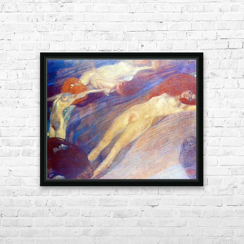 Moving water by Klimt HD Sublimation Metal print with Decorating Float Frame (BOX)