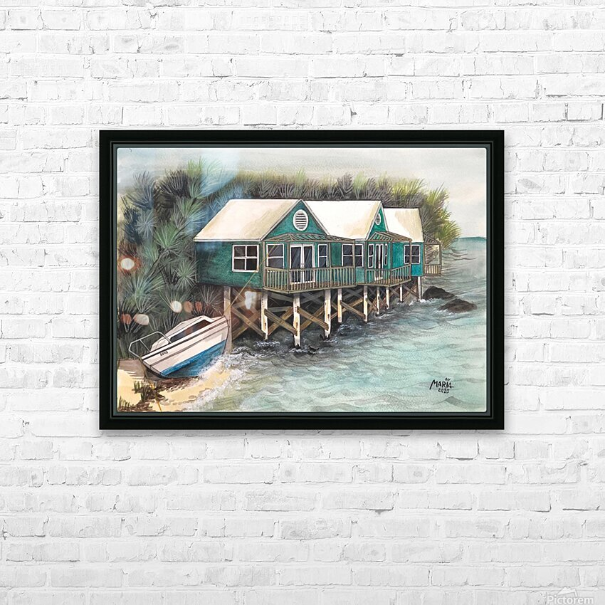 Collection BERMUDA- Stilt house HD sublimation métal imprimé avec décoration flotteur cadre (boîte)