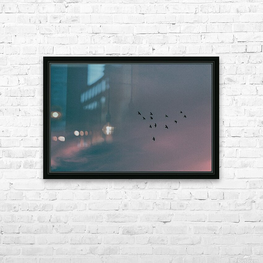 Flock of birds HD Sublimation Metal print with Decorating Float Frame (BOX)