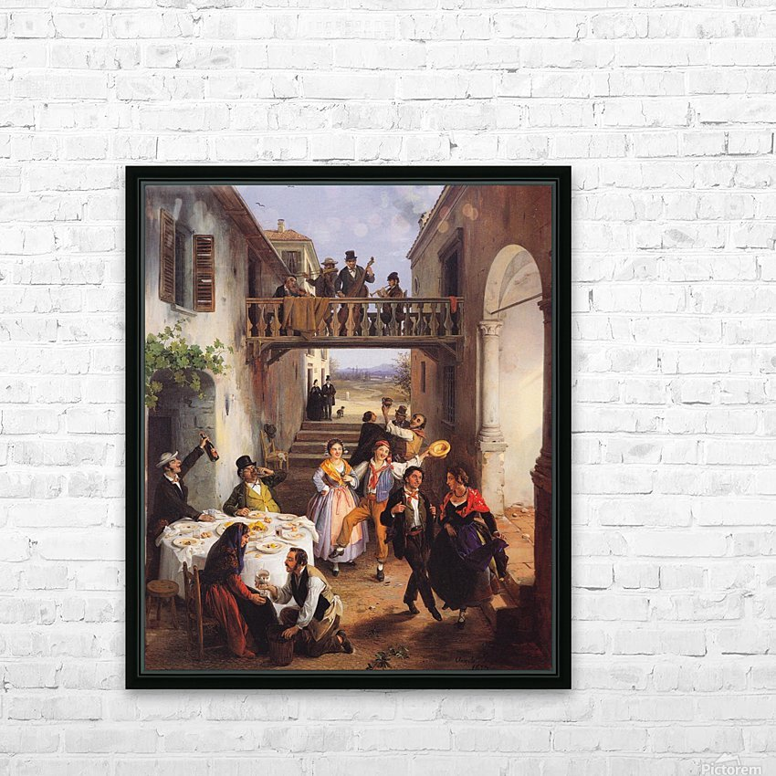 Festa di nozze in un cortile HD Sublimation Metal print with Decorating Float Frame (BOX)