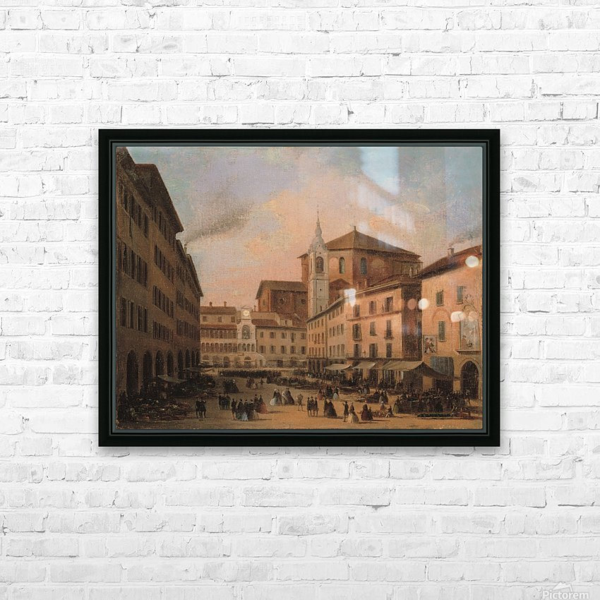 Piazza della Vittoria a Pavia olio su tela HD Sublimation Metal print with Decorating Float Frame (BOX)