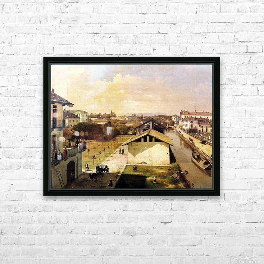Veduta del Naviglio di San Marco dalla terrazza di Ca Medici, Milano, 1837 HD Sublimation Metal print with Decorating Float Frame (BOX)