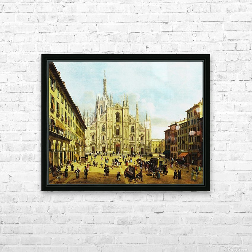 Piazza del Duomo di Milano, 1832 HD Sublimation Metal print with Decorating Float Frame (BOX)