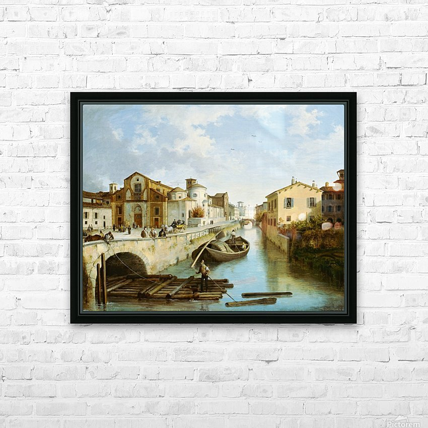 Veduta del Naviglio e della chiesa di San Marco in Milano HD Sublimation Metal print with Decorating Float Frame (BOX)