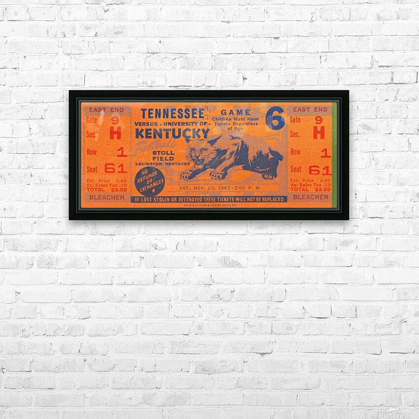 Vintage Kentucky Wildcats Football Ticket Art HD Sublimation Metal print with Decorating Float Frame (BOX)