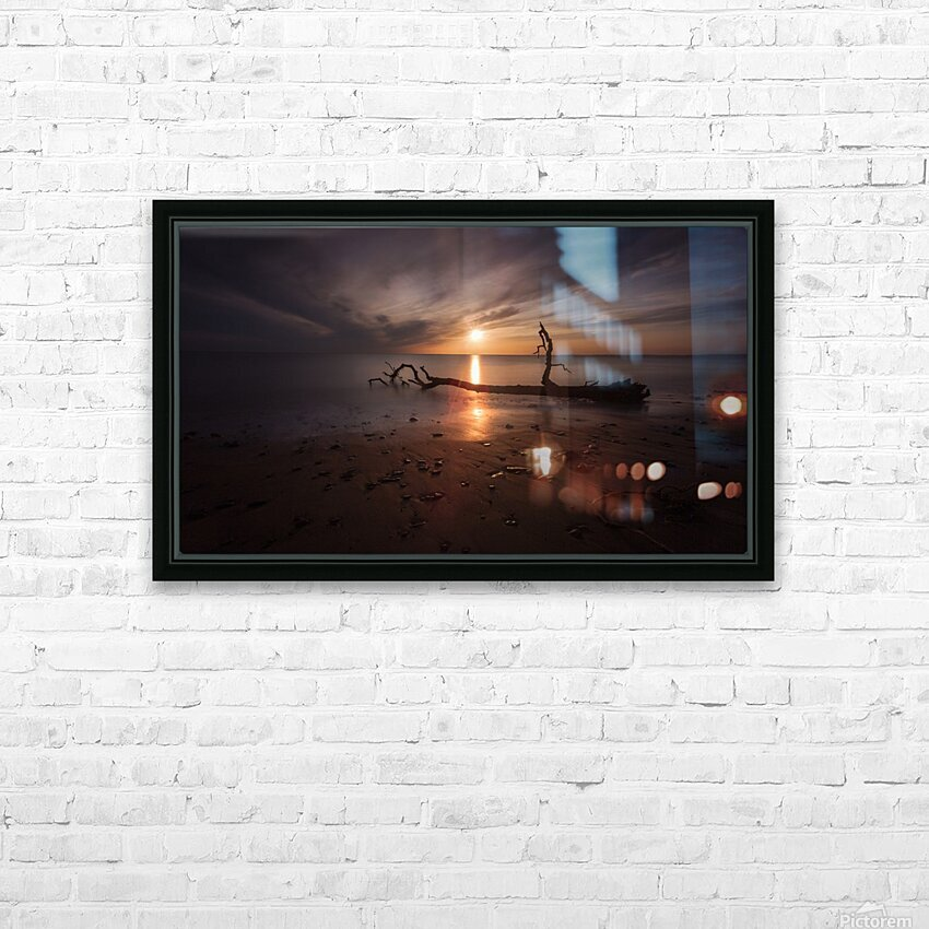 Sunset on Sker Beach HD Sublimation Metal print with Decorating Float Frame (BOX)