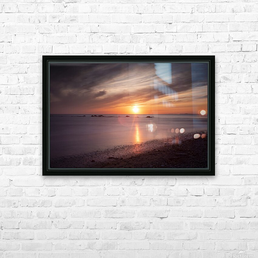 Sker Beach sunset HD Sublimation Metal print with Decorating Float Frame (BOX)