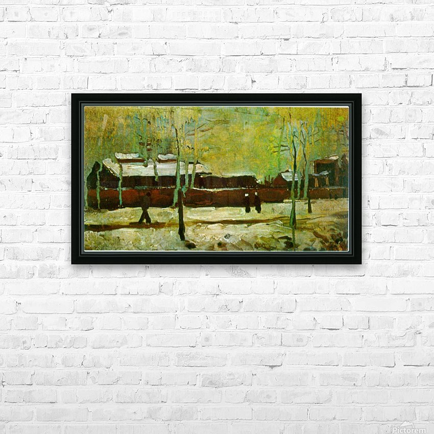 Old Station by Van Gogh HD Sublimation Metal print with Decorating Float Frame (BOX)