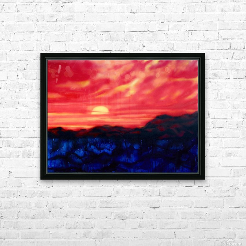 Fire Sunset HD Sublimation Metal print with Decorating Float Frame (BOX)