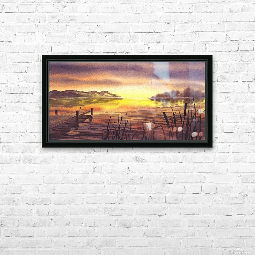 Peaceful Sunset At The Lake HD Sublimation Metal print with Decorating Float Frame (BOX)