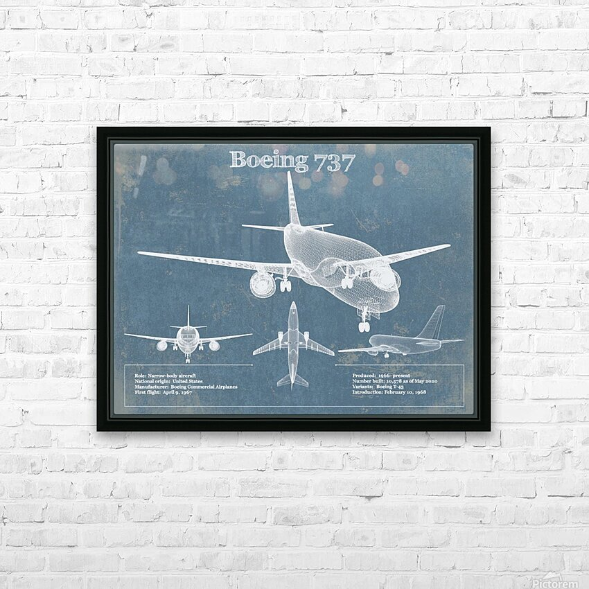 737 HD Sublimation Metal print with Decorating Float Frame (BOX)