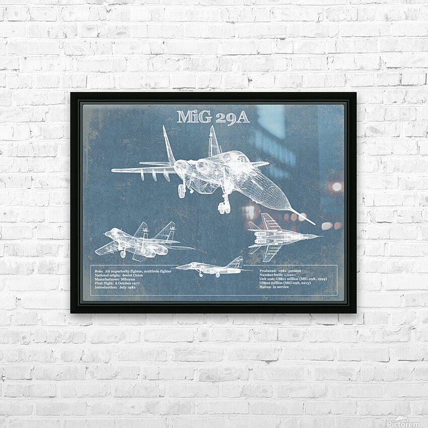 mig29a HD Sublimation Metal print with Decorating Float Frame (BOX)