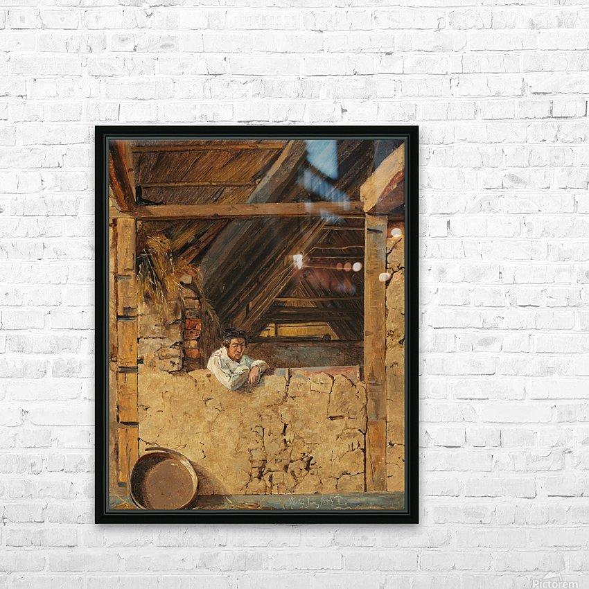 Peter Christian Skovgaard appuye contre un muret dans une etable, 1843 HD Sublimation Metal print with Decorating Float Frame (BOX)