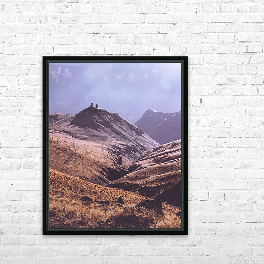 Gergeti in moring sunlight. HD Sublimation Metal print with Decorating Float Frame (BOX)