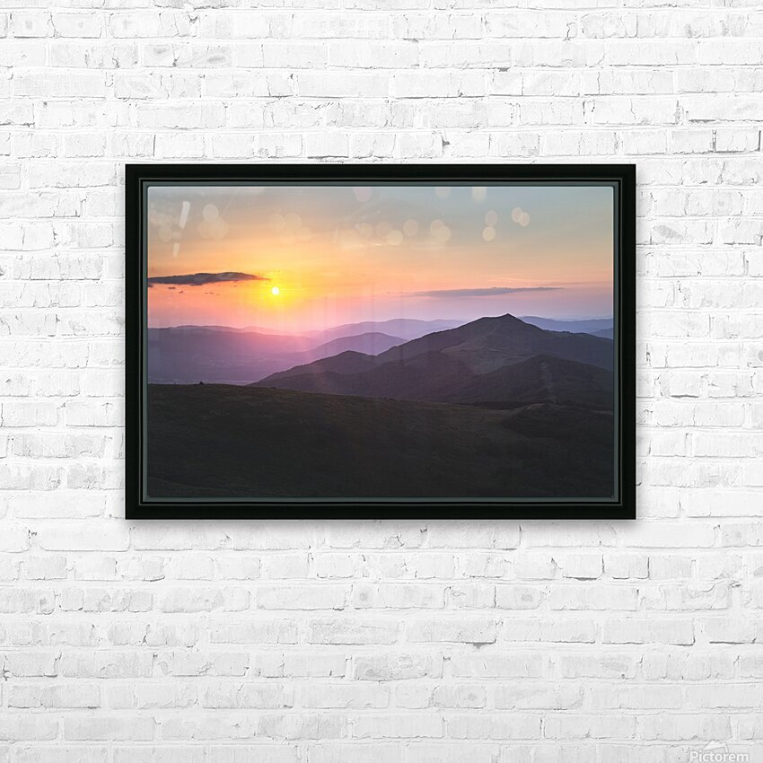 Pink sunset HD Sublimation Metal print with Decorating Float Frame (BOX)