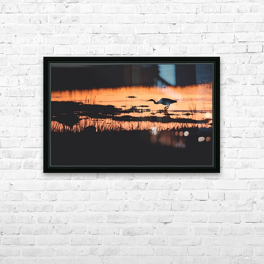 Heron hunt HD Sublimation Metal print with Decorating Float Frame (BOX)