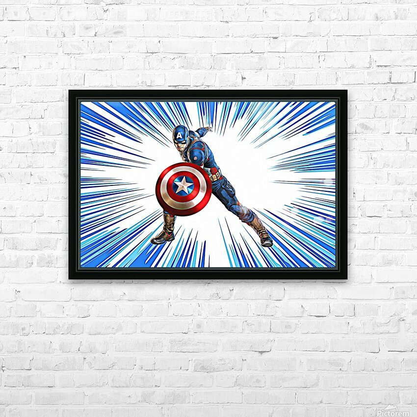 Captain America HD Sublimation Metal print with Decorating Float Frame (BOX)