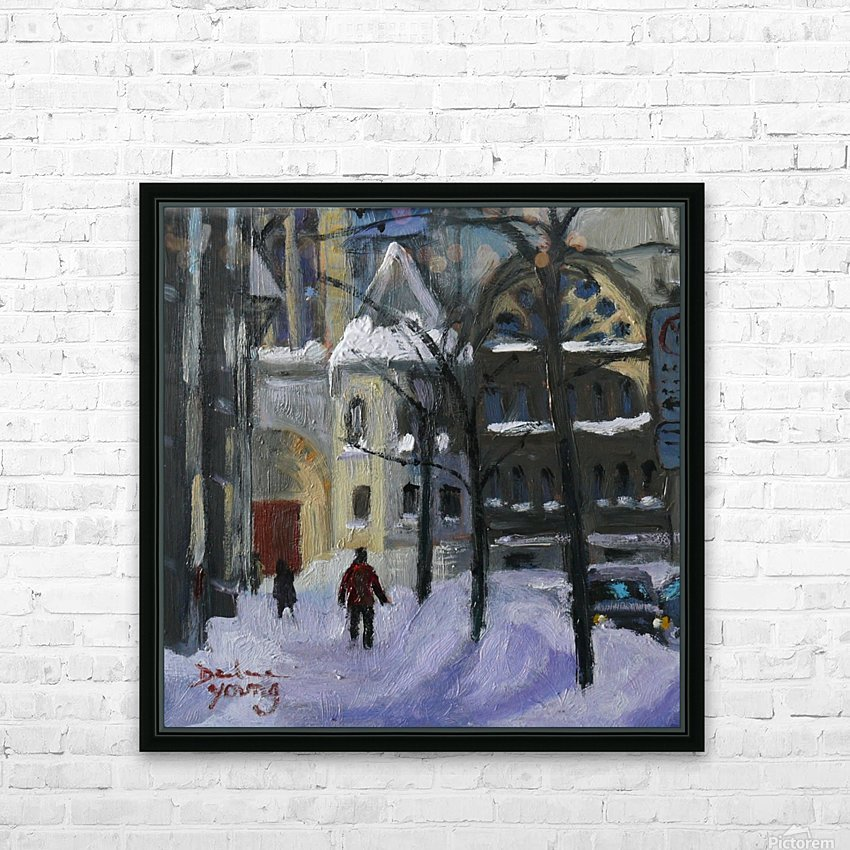 Montreal Downtown Scene, Drummond Winter HD Sublimation Metal print with Decorating Float Frame (BOX)