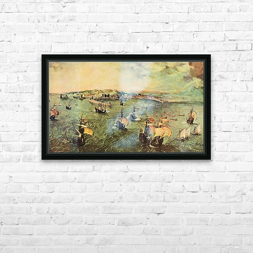 Port of Naples by Pieter Bruegel HD Sublimation Metal print with Decorating Float Frame (BOX)