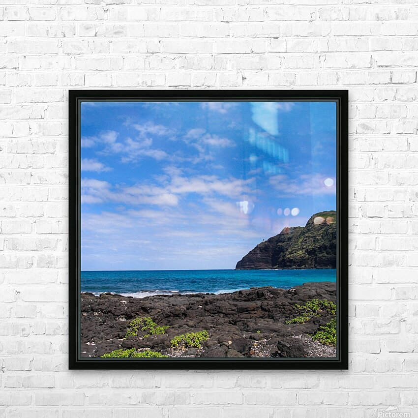 Hawaii Cliff and Coastline Square Panorama HD Sublimation Metal print with Decorating Float Frame (BOX)